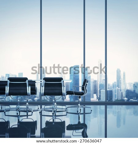 Meeting room. 3D rendering - stock photo