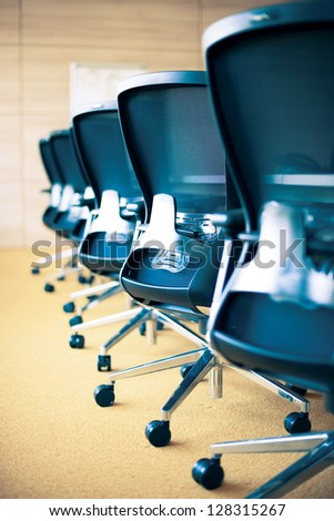meeting room, empty chairs - stock photo