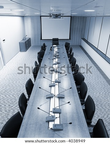 meeting room with blue tilt - stock photo