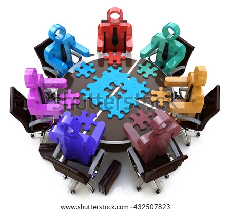 Meeting solutions teamwork in the design of the information related to the decision in the team. 3d illustration - stock photo