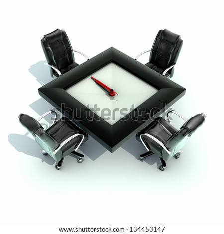 Meeting time - table with a large clock - stock photo