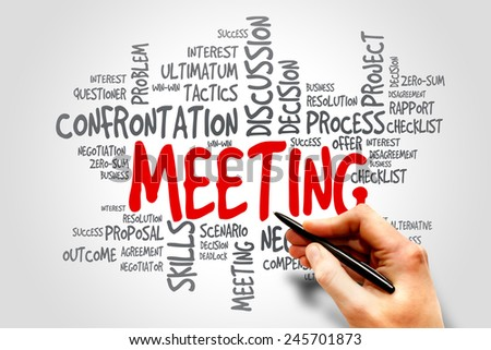 Meeting word cloud, business concept - stock photo