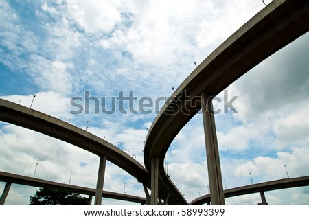 Mega Bridge on sky bushy - stock photo