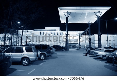mega shop night outdoor - stock photo