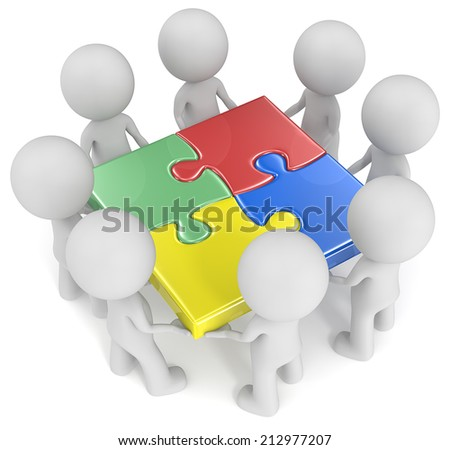 Mega Team. The dude x 8 holding joined puzzle pieces. Red, green, blue and yellow. - stock photo