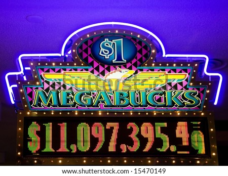 Megabucks - neon lights in casino - stock photo