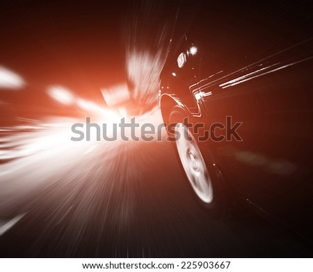Megacity Highway at night with light trails - stock photo