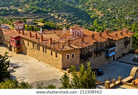 Megali Panagia orthodox monastery, Samos, Greece - stock photo