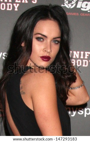 "Megan Fox  arriving at the  Jennifers Body"" Comic-Con Party in the Kin Lounge at the  Manchester Grand Hyatt Hotel in San Diego, CA, United States  on July 23, 2009 - stock photo"