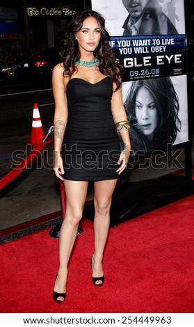"Megan Fox at the Los Angeles Premiere of ""Eagle Eye"" held at the Grauman's Chinese Theater in Hollywood, California, United States on September 16, 2008.  - stock photo"