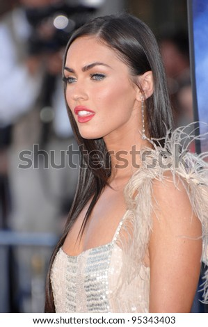 "Megan Fox at the Los Angeles premiere of her new movie ""Transformers"". June 28, 2007  Los Angeles, CA Picture: Paul Smith / Featureflash - stock photo"
