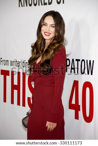 "Megan Fox at the Los Angeles premiere of ""This Is 40"" held at the Grauman's Chinese Theatre in Los Angeles, United States on December 10, 2012.   - stock photo"