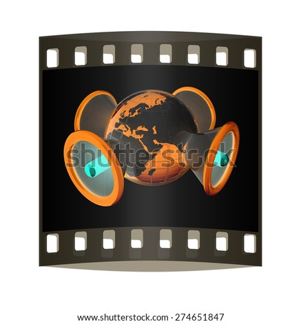 Megaphone and earth.Isolated on black background.3d rendered. The film strip - stock photo