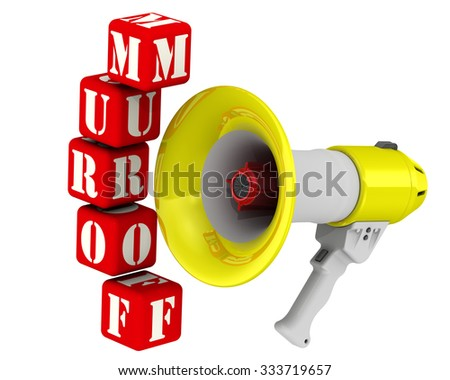 """Megaphone and the word FORUM. Three-dimensional illustration of a megaphone (electric horn) and the word """"FORUM"""" made from red cubes. Isolated - stock photo"""
