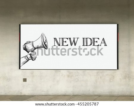 MEGAPHONE ANNOUNCEMENT NEW IDEA ON BILLBOARD - stock photo