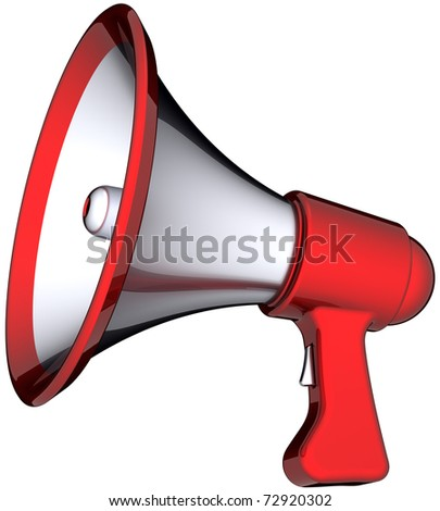Megaphone announcement propaganda. Modern stylish shiny (silver, red parts) loudspeaker. Speech warning blog news support concept. This is a detailed render 3d (Hi-Res). Isolated on white background - stock photo