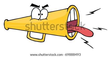 Megaphone Cartoon Character Screaming - stock photo
