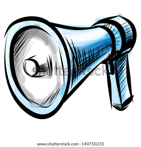 Megaphone. Hand drawing sketch illustration - stock photo