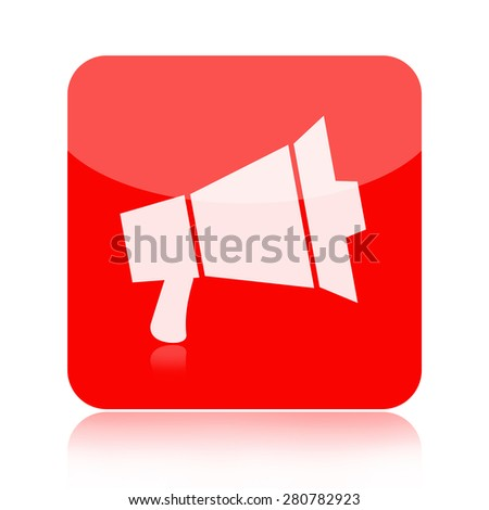 Megaphone icon isolated on white background - stock photo