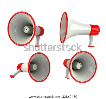 Megaphone in different angles, isolated over white - stock photo