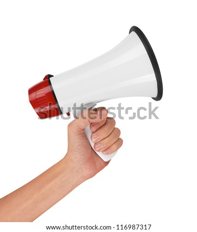 Megaphone in hand, isolated on white background - stock photo