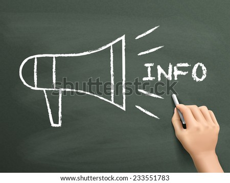 megaphone info concept drawn by hand isolated on blackboard - stock photo