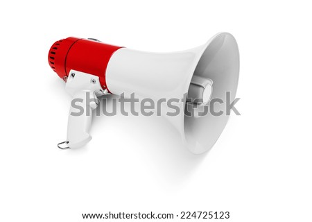 Megaphone isolated on white -Clipping Path - stock photo