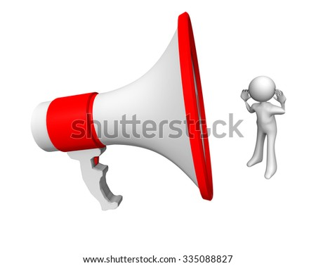 megaphone listen, white character - stock photo