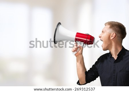 Megaphone. Loud and Clear - stock photo