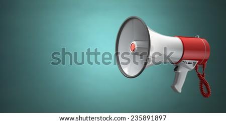 Megaphone or loudspeaker on green vintage background. 3d - stock photo