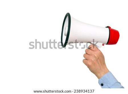 Megaphone with female hand on white background - stock photo