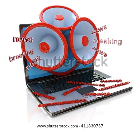 Megaphones coming out of laptop screen concept, online breaking news, media in the design of information related to communications.3D illustration - stock photo