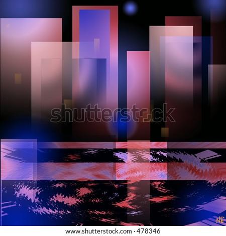 Megapolis in the night (illustration - stock photo
