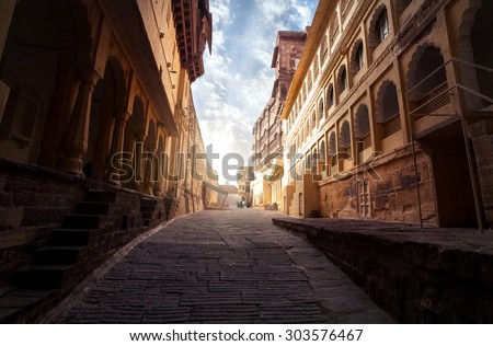 Mehrangarh fort at sunrise in Jodhpur, Rajasthan, India - stock photo