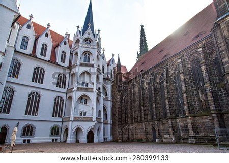Meissen castle square and cathedral view in Albrechtsburg - stock photo