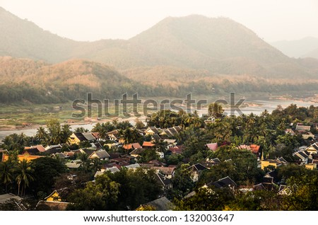 Mekong River from Above - Luang Prabang, Laos - stock photo