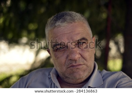 melancholy of a senior man - stock photo