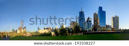 melbourne and a nice grassed area one morning - stock photo