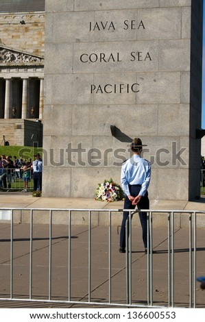 MELBOURNE - APRIL 25. Memorial service with War Veterans Remembers Anzac Day on March April 25, 2013 in Melbourne. Australia - stock photo