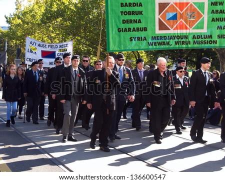 MELBOURNE - APRIL 25.  War Veterans Remember Anzac Day on March April 25, 2013 in Melbourne. Australia - stock photo