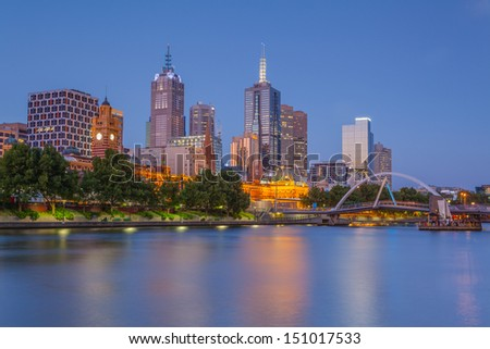 Melbourne at dusk from Southbank across the Yarra River - stock photo