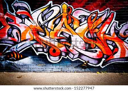 MELBOURNE - AUG 28: Street art by unidentified artist. Melbourne's graffiti management plan recognises the importance of street art in a vibrant urban culture - August 28, 2013 in Melbourne, Australia - stock photo