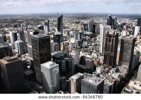 Melbourne, Australia. Aerial view of skyscraper city. Central business district (CBD). - stock photo