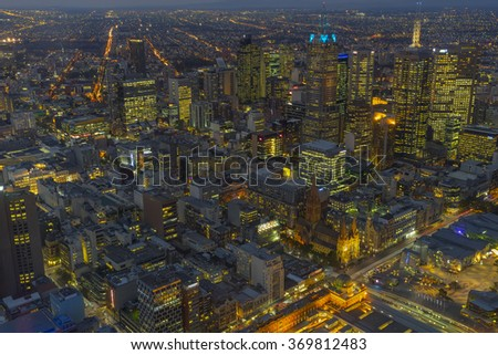 Melbourne, AUSTRALIA - APRIL 15 2015 : Melbourne city in night view from above from Eureka tower the highest building in Melbourne, Australia - stock photo
