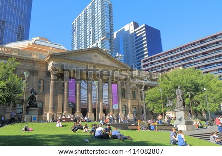 MELBOURNE AUSTRALIA - APRIL 24, 2016: Unidentified people visit State Library of Victoria in Melbourne. - stock photo