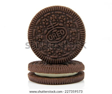 Melbourne,Australia-August 15,2014: Oreo cookies over white.Oreo is a sandwich cookie consisting of two chocolate wafers with cream filling. - stock photo