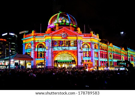MELBOURNE, AUSTRALIA - FEBRUARY 22,2014: Flinders Street Station during Melbourne's White Night which attracted more than 500,000 visitors to the city centre  - stock photo