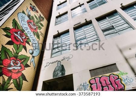 MELBOURNE/AUSTRALIA - FEBRUARY 6: Taken in Melbourne's famous graffiti laneways, on February 6 in AC/DC Lane. - stock photo
