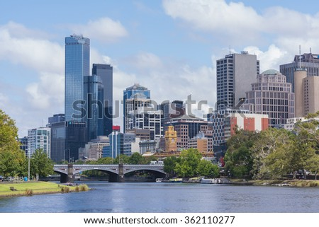 Melbourne, Australia - Jan 7, 2016: View of Office buildings and Yarra River in Mebourne CBD - stock photo