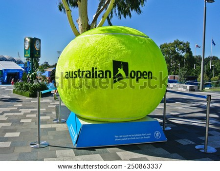 MELBOURNE, AUSTRALIA - JANUARY 21: A huge tennis ball decorated at Melbourne Park during day 3 of the Australian Open on January 21, 2015 in Melbourne, Australia. - stock photo